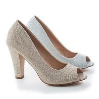 Andy13 By Blossom, Shimmering Peep Toe Slip On Chunky Heel Pumps