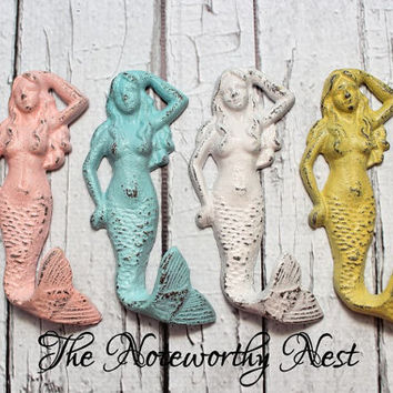 Cast iron mermaid hook // Cast iron mermaid  // bathroom decor // nautical decor // cast iron hook // beach decor // pool decor