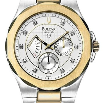 Bulova Men's Two Tone Marine Star Diamond Watch 98D006