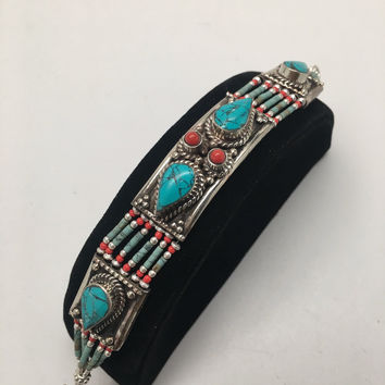 Vintage Nepalese Red Coral & Green turquoise Inlay Statement Bib Bracelet, NPB46
