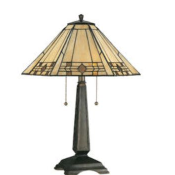 """Willow 24"""" Table Lamp Mission Art Deco Stained Glass"""