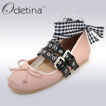 Odetina 2017 New Spring Brand Women Ballet Flats With Straps Bowknot Lace Up Falt Shoes Double Buckle Ballerinas Big Size 32-48