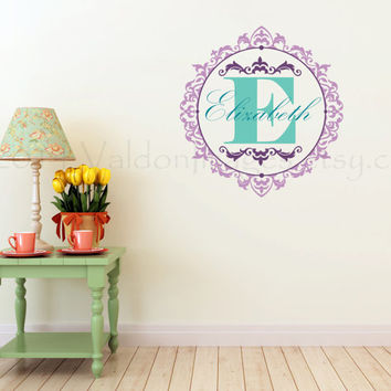 Victorian monogram wall decal, wall words sticker, decal, wall graphic , typography, vinyl graphic wall decal, shabby chic vinyl decal