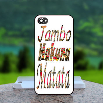Jambo Hakuna Matata - Photo Print in Hard Case - For iPhone 4 / 4s Case , iPhone 5 Case - White Case, Black Case (CHOOSE OPTION )