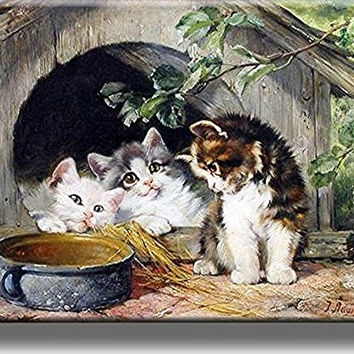 Three Kittens Cute Picture on Stretched Canvas, Wall Art Decor, Ready to Hang!