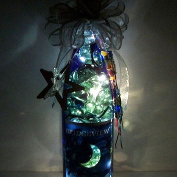 Blue Upcycled Wine Bottle - Holiday Decorations - Decorative Wine Bottle Lights - Accent Lamp