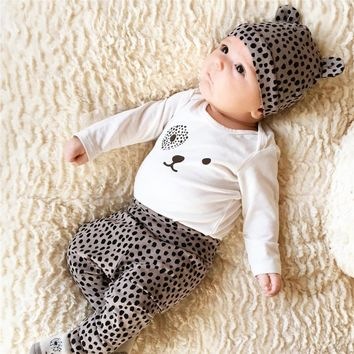 Leopard Print T-Shirt + Pants + Cap for Baby Girl