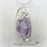 Amethyst Crystal Necklace - Wire Wrapped Pendant in Silver