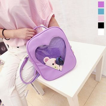 Fashion Women Backpack Candy Color Transparent Heart Shape Ladies Girls School Shoulder Bags For Travel Bag LBY20