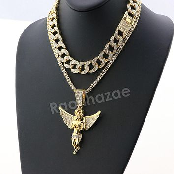 Hip Hop Iced Out Quavo Angel Miami Cuban Choker Tennis Chain Necklace L14