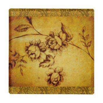 VINTAGE FLORAL DESIGN GLASS COASTER