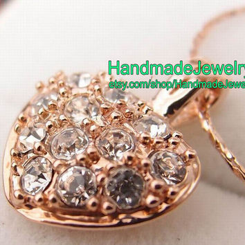Rose gold  swarovski crystal  heart pendant necklace