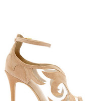Anne Michelle Rapture 33 Nude Suede Ankle Strap Heels