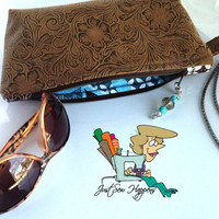 Brown Vegan Leather Clutch, Wristlet, Zippered Bag with Teal and Brown Lining (Free US Shipping)