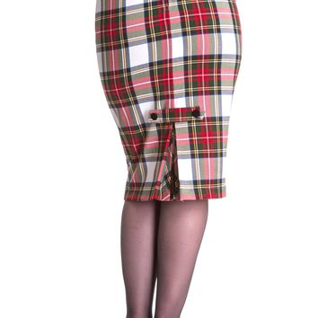 This cute fall & winter style pencil skirt features blended fabrication with white tartan pattern throughout, darts on the back for better fits, invested box pleated accent at the bottom hem of the skirt, self fabric tab above the pleats with black buttons