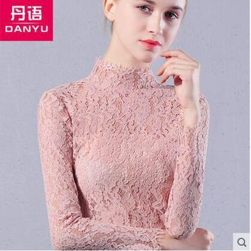 T-shirt turtleneck net yarn primer shirt Slim long  sleeved Waichuan small shirt  2016 autumn and winter new women's clothing