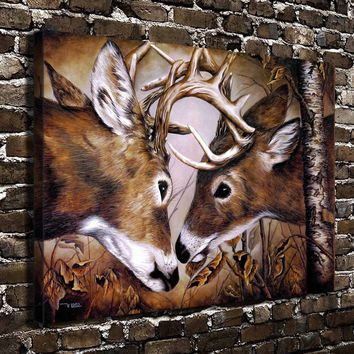 Scenery Animal Deer Challenge HD Canvas Print Oil Painting Realism Home decoration Living Room Bedroom Wall Art Pictures