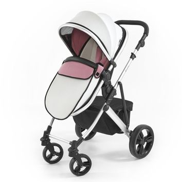 Tutti Bambini Riviera Plus 3 in1 Silver Pram & Pushchair (Dusty Pink/Cool Grey) from Tutti Bambini part of the 3-in-1 Pram Systems range available at PreciousLittleOne