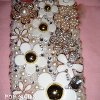 Bling  white flower iPhone 4S iphone 5 Samsung Galaxy S4 made with Swarovski Diamond Crystal