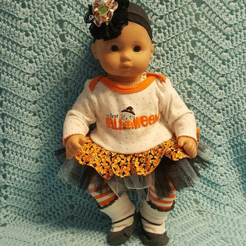 "Halloween baby doll clothes 15 inch ""My First Halloween - Kitty"" 15 inch doll outfit dress, leggings, socks, and headband/ hair clip"