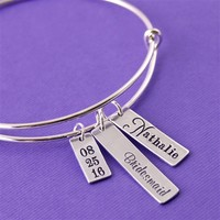 Personalized Bridesmaid's Adjustable Bangle Bracelet - Spiffing Jewelry