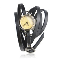 Vintage Style Multi-wraps Thin Belt Watch — Black