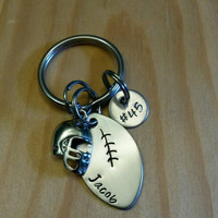 Hand Stamped football keychain Personalized Jewelry Football Mom keychain with Name & Number