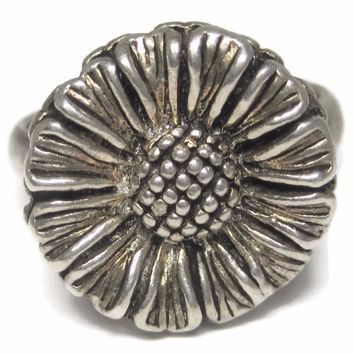 Vintage 90s Sterling Flower Ring Size 7.5