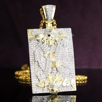 Men's King of Hearts Skull Face Playing Cards Iced Out Pendant