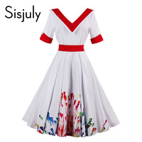 Sisjuly vintage dress 1950s style spring white pin up sashes women party dress summer print patchwork elegant vintage dresses