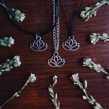 Lotus Plant Flower Silver Charm Necklaces and Chokers - Grunge Hippie Bohemian Boho Witch Crystal Womens Trendy Jewelry