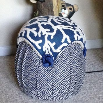 Navy Blue and White Coral Nautical Tufted Mushroom Upholstered Footstool / Ottoman / Hassock