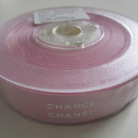 "Sale** Authentic CHANEL CHANCE Pink Ribbon with White Logo Letters 3/4"" - 25 Meter Roll / DIY Headband Hairbow / Gift Wrapping"