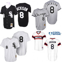 Black white grey Throwback Bo Jackson Authentic Jersey , Men's #8 Mitchell And Ness Chicago White Sox