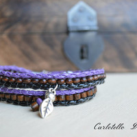 Silver Leaf Charm with Purple and Black Leather Wrap Bracelet and brown wood beads
