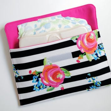 Diaper Clutch: Black & White Stripes with Watercolor Floral - Floral Diaper Clutch - Diaper Clutch Girl - Diaper Bag Organizer -Diaper Pouch