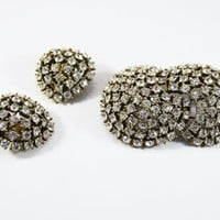 Rhinestone Domed Brooch & Earring Set with Clear Rhinestones in Gold Tone Setting Vintage 1950s 1960's Clip ons and Interlocking Dome Pin