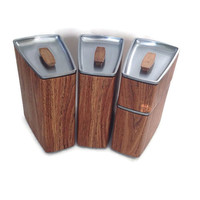 Mid Century Kitchen Canisters-Lincoln-Beauty Ware-Faux Wood Grain-Vinyl-Chrome-Set of 4-Retro Kitchen-Storage-Coffee-Flour-Tea
