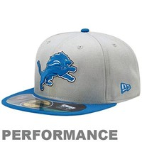 New Era Detroit Lions On-Field Player Sideline Performance 59FIFTY Fitted Hat - White/Royal Blue