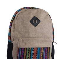 Leisure Folk Style Floral Print Beige Backpack