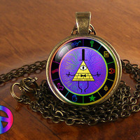 Gravity Falls Bill Cipher Wheel Party Time Necklace Pendant Charm Jewelry Gift