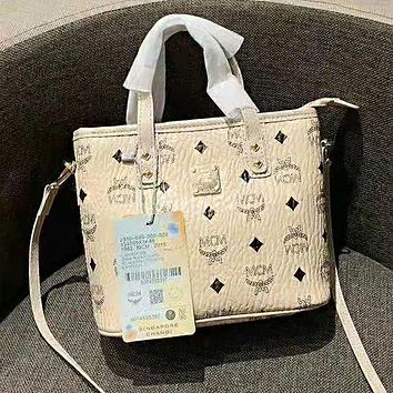MCM Fashion Women Leather Satchel Handbag Tote Shoulder Bag Crossbody Beige&Yellow