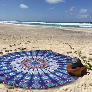 Indian Round Mandala Yoga Mat Wall Hanging Boho Beach Throw Tapestry Towel Decor