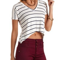 Striped Boxy Cropped Tee by Charlotte Russe - Navy Combo