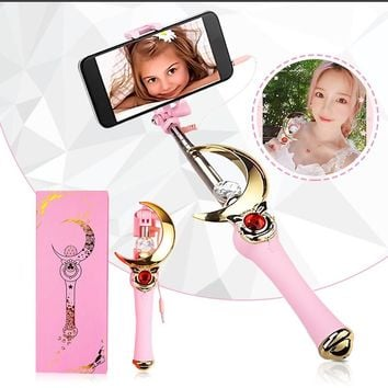 Sailor Moon Extendable Selfie Stick Magic Wand Stick Rod Built-in Shutter Cosplay Prop