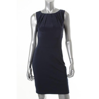 Trina Turk Womens Betty Pleated Lined Wear to Work Dress