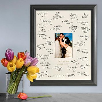 Personalized Free Laser Engraved Wedding Wishes Signature Frame
