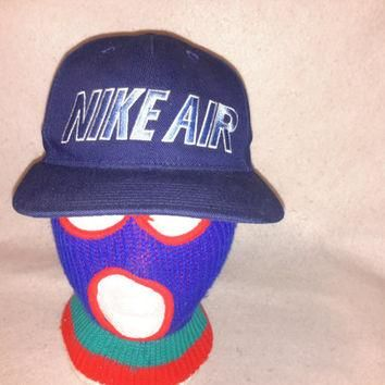 Vintage Nike Air 90s Snapback Bleu hat Spell Out cap Air max Retro LE Foamposite Uptem