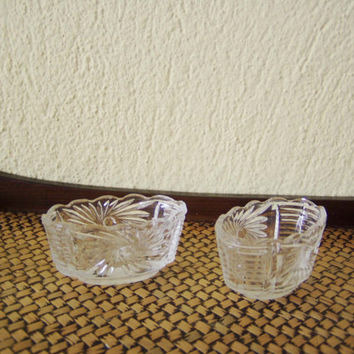 Vintage glass bowls, tiny, oval, glass bowls, glass salt cellars, pressed cut pattern bowls, cute oval bowls, set of two, early seventies