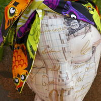 Halloween Owls Ascot Scarf or Tie Up Head Wrap Reversible Black Purple Orange Green